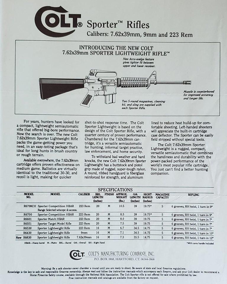 Colt 7 62×39 Sporter Lightweight Rifle Advertising One-Sheet